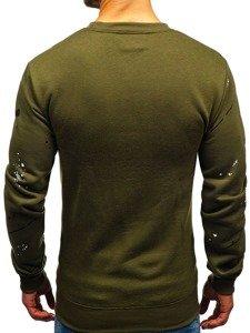 Bluza męska bez kaptura z nadrukiem zielona Denley 22025