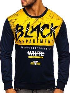 Bluza męska bez kaptura z nadrukiem żółta Denley HY692