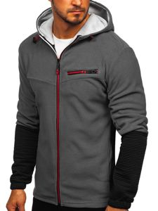 Bluza męska polar  z kapturem grafitowa Denley YL005