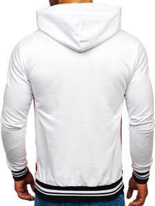 Bluza męska z kapturem biało-czerwona Bolf 145366