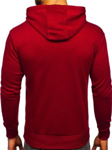 Bluza męska z kapturem bordowa Bolf 1004