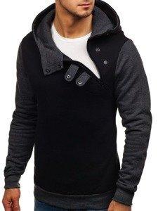 Bluza męska z kapturem czarno-antracytowa Bolf 06S