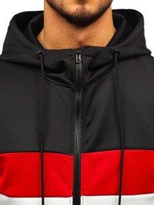 Bluza męska z kapturem czarno-biała Denley B99003