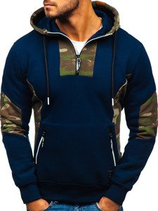 Bluza męska z kapturem granatowa  Denley 3735