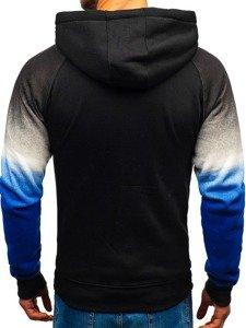 Bluza męska z kapturem rozpinana czarno-niebieska Denley DD528