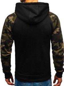 Bluza męska z kapturem rozpinana czarno-zielona Denley DD551