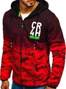 Bluza męska z kapturem rozpinana czerwona Denley DD84-1