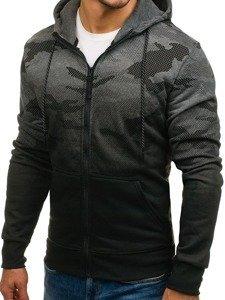 Bluza męska z kapturem rozpinana moro-grafitowa Denley DD130