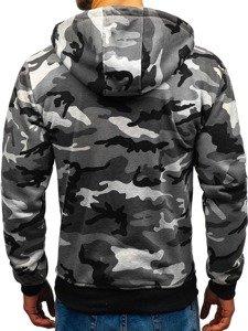 Bluza męska z kapturem rozpinana moro-szara Denley 33017