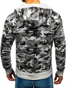 Bluza męska z kapturem rozpinana moro-szara Denley DD129