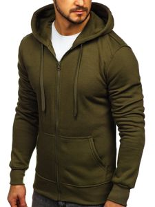 Bluza męska z kapturem rozpinana oliwkowa Denley 2008