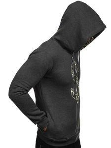 Bluza męska z kapturem z nadrukiem antracytowa Bolf 79