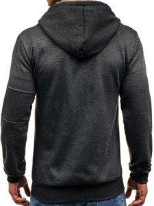 Bluza męska z kapturem z nadrukiem antracytowa Denley 2850