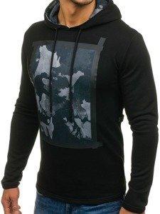 Bluza męska z kapturem z nadrukiem czarna Denley 9088