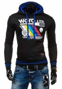 Bluza męska z kapturem z nadrukiem czarna Denley K503