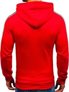 Bluza męska z kapturem z nadrukiem czerwona Denley KS1801-A