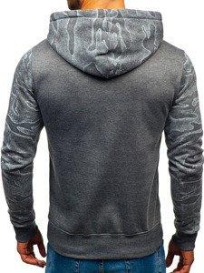 Bluza męska z kapturem z nadrukiem grafitowa Denley DD58