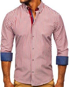 Bordowa koszula męska w paski z długim rękawem Bolf 20704