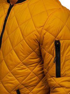 Camelowa przejściowa kurtka męska pikowana bomberka Denley MY-01