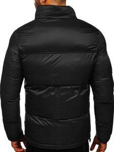 Czarna pikowana kurtka męska zimowa Denley 1186