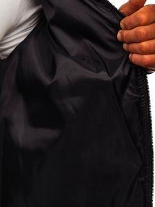 Czarna przejściowa kurtka męska pikowana bomberka Denley MY-02
