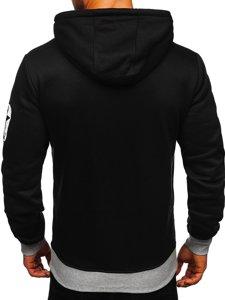 Czarna z nadrukiem bluza męska z kapturem Denley Y10001