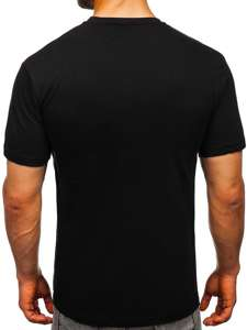 Czarny T-shirt męski z nadrukiem Bolf T003