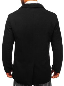 Czarny płaszcz dwurzędowy męski zimowy z wysokim kołnierzem Denley 8078
