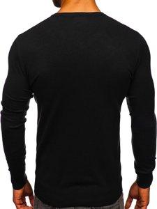 Czarny sweter męski w serek Denley YY03
