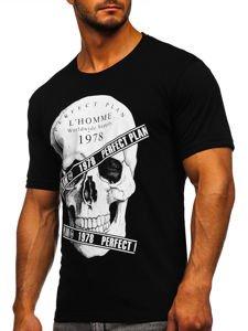 Czarny t-shirt męski z nadrukiem Bolf 142176
