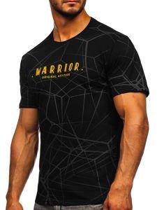 Czarny t-shirt męski z nadrukiem Bolf SS10935