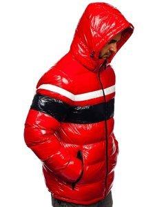 Czerwona pikowana kurtka męska zimowa Denley 6463