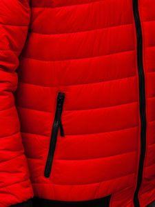 Czerwona przejściowa kurtka męska pikowana bomberka Denley MY-02