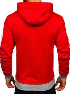Czerwona z nadrukiem bluza męska z kapturem Denley Y10001