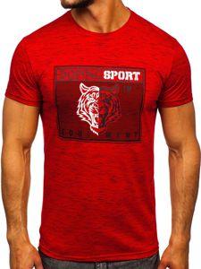 Czerwony T-shirt męski z nadrukiem Denley SS11130