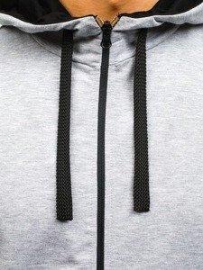 Długa bluza męska z kapturem rozpinana szara Denley 0364