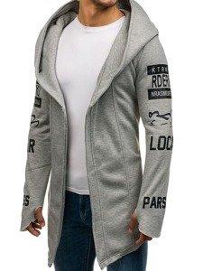 Długa bluza męska z kapturem z nadrukiem szara Denley 2039