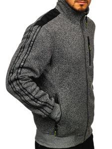 Grafitowa bez kaptura bluza męska rozpinana Denley TC976
