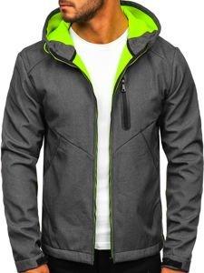 Grafitowa kurtka męska przejściowa softshell Denley KS2192