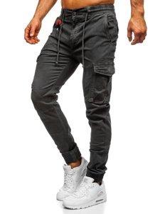 Grafitowe spodnie joggery bojówki męskie Denley CT6705