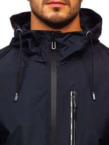 Granatowa przejściowa kurtka męska sportowa z kapturem Denley 6172