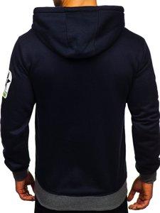 Granatowa z nadrukiem bluza męska z kapturem Denley Y10001