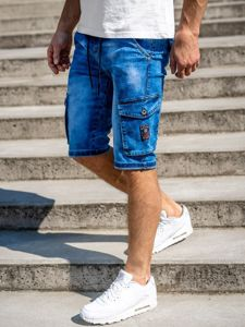 Granatowe jeansowe krótkie spodenki męskie bojówki Denley KR1076-2
