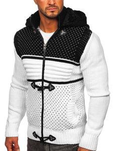 Gruby biały rozpinany sweter męski z kapturem kurtka Denley 2047