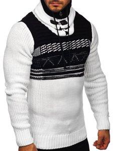 Gruby biały sweter męski ze stójką Denley 2020