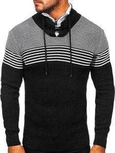 Gruby czarny sweter męski ze stójką Denley 1039