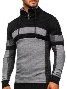 Gruby czarny sweter męski ze stójką Denley 1053