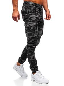 Jasnografitowe spodnie joggery bojówki męskie moro Denley CT6019