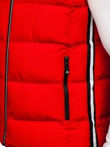 Kamizelka męska pikowana z kapturem czerwona Denley 5898