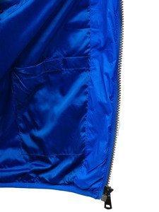 Kamizelka męska pikowana  z kapturem niebieska Denley 1252